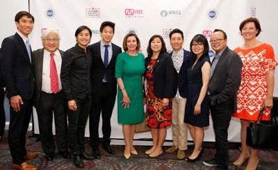 From left, Sang H. Cho, U.S. Rep. Mike Honda (CA-17), Justin Chon, Ki Hong Lee, Nancy Pelosi (Speaker of the U.S. House of Representatives, U.S. Rep. Grace Meng (NY-6), Kelvin Yu, Traci G. Lee, Jeff Yang and Angela S. Killoren. (Contributed photo)