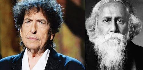 The two Nobel Prize winners for literature who are musician poets, Bob Dylan, left, in 2016, and Rabindranath Tagore in 1913.