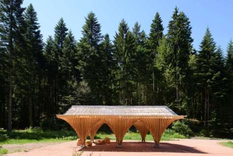 A Forest Shelter at Bertrichamp by  Studiolada and Yoann Saehr Architect