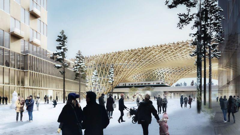 Wooden canopy for Jönköping station