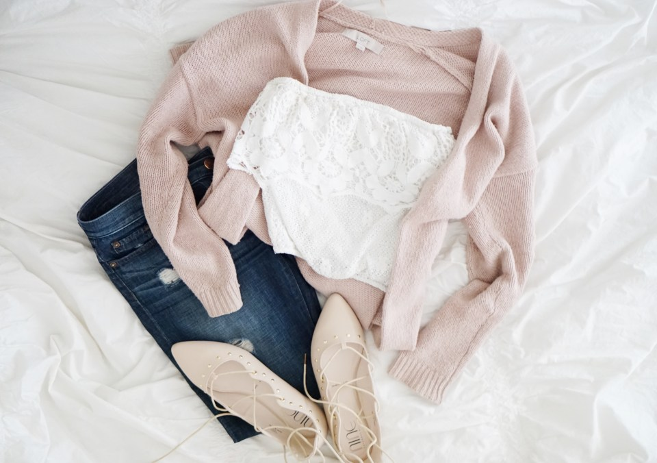 Lace off the shoulder, wool sweaters, spring layers