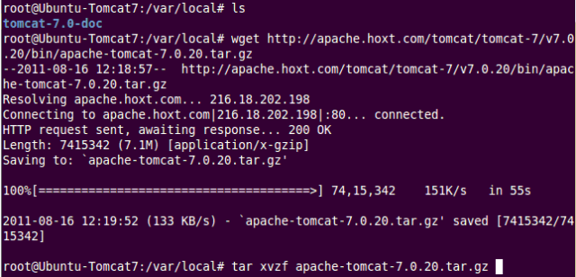 Extract Tomcat files