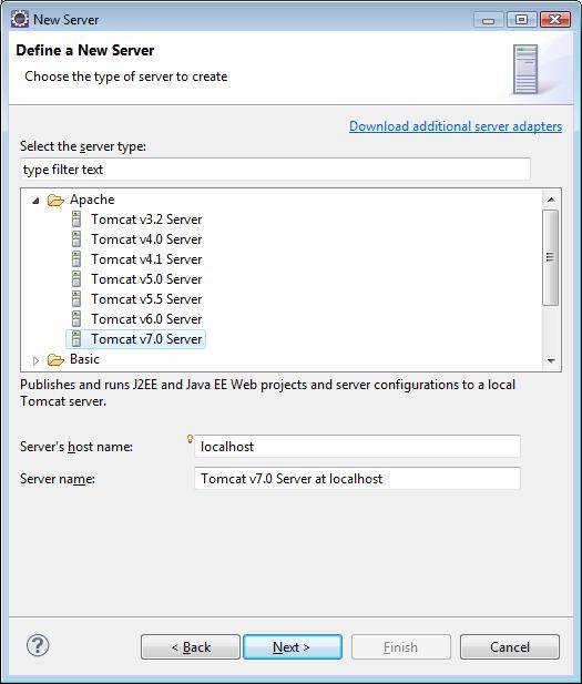 Define a new Tomcat Server in Eclipse