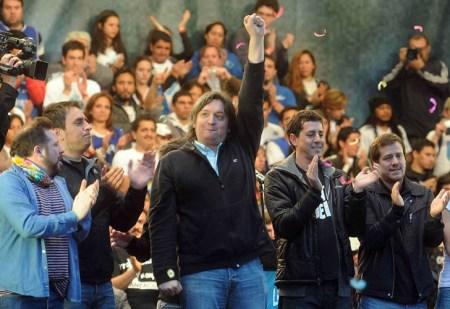 Buenos Aires, El referente de la agrupación La Cámpora, Máximo Kirchner, al hablar como orador de cierre en el multitudinario acto de esa agrupación en el barrio porteño de La Paternal.