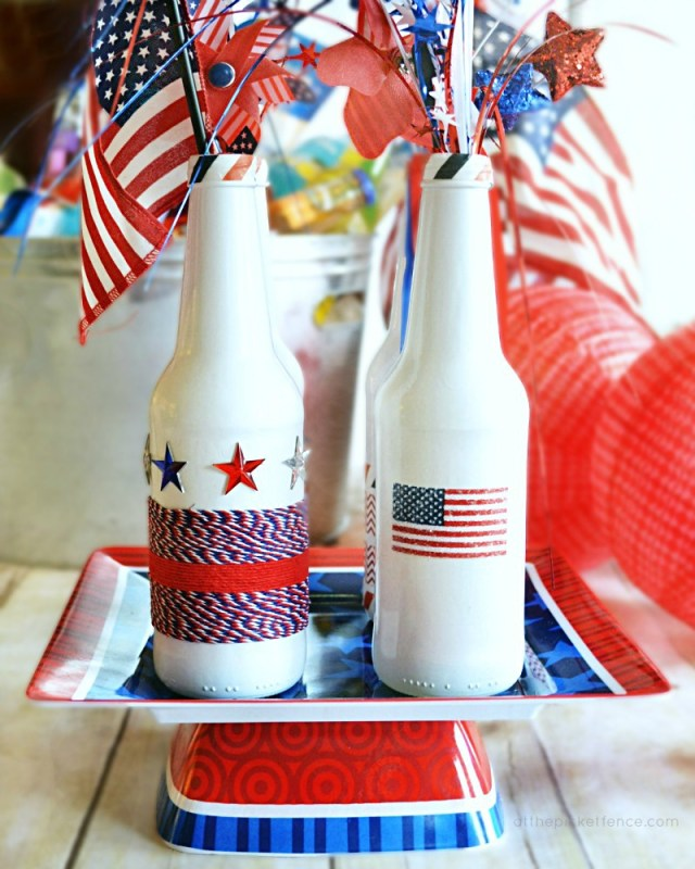 4th of July bottle centerpiece