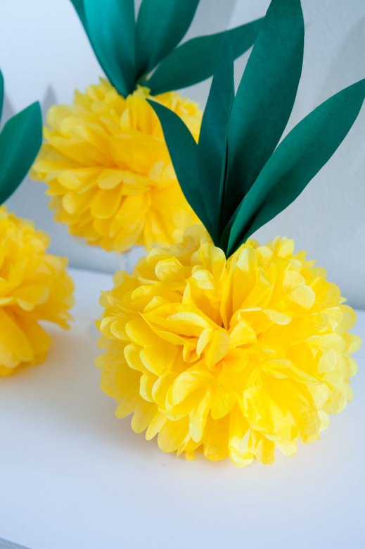 Yellow and green tissue paper pineapple decoration