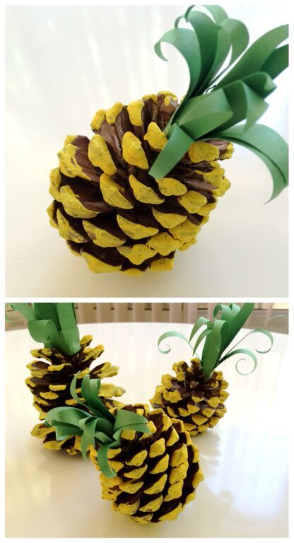 pinecone painted to look like a pineapple
