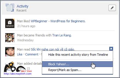 Cách ẩn và hiện Recent Activity trong Facebook