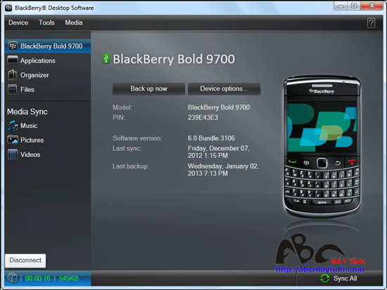 Dùng điện thoại BlackBerry làm modem truy cập Internet