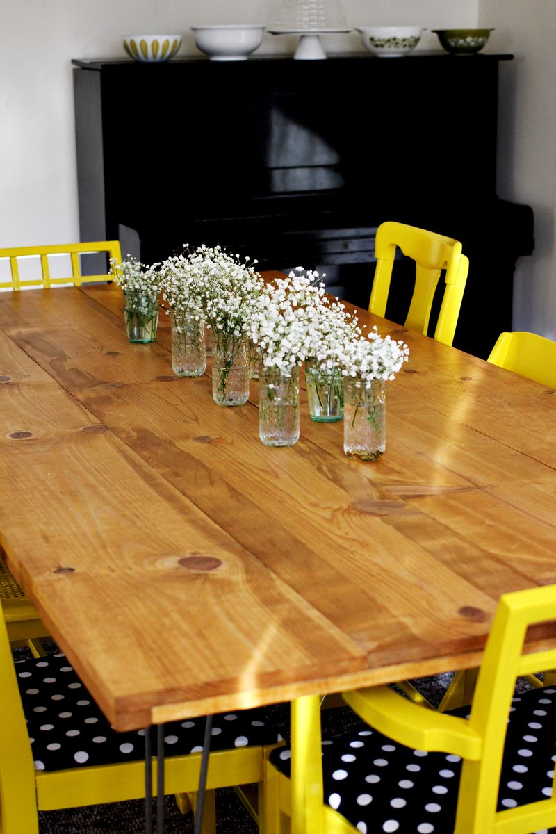 elsies make kitchen table DIY Dining Room Table by A Beautiful Mess