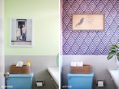 Create a Wallpaper Look with a Geometric Stencil – A Beautiful Mess