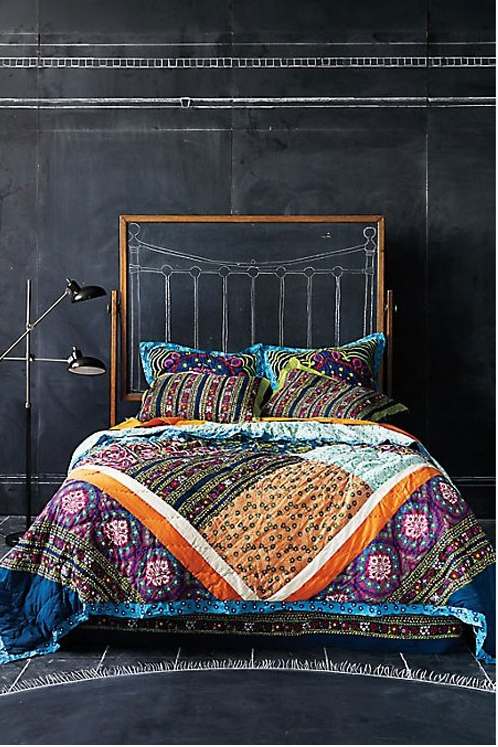 Chalkboard Paint Headboard Accent Wall DIY Bedroom Colorful Comforter Pillows