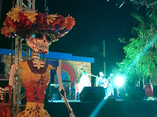Post parade Day of the Dead festivities in Guaymas