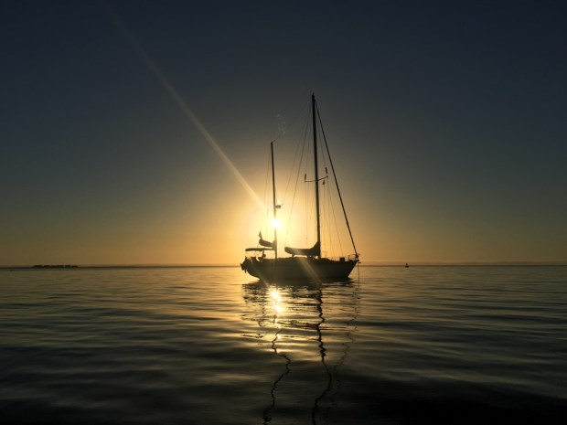 Astraea at anchor at sunset near Costa Baja