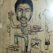 A caricature of my brother in 1982 when he managed our bakeshop, Sally's Home Bake Shop
