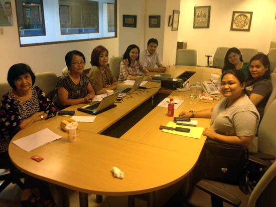 Editors at a POC Editorial meeting in October with Baltazar Lucas