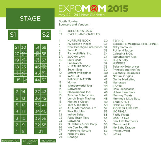 Expo Mom Booth Map