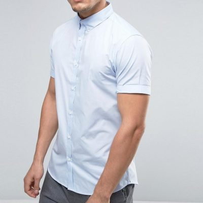 River Island Poplin Shirt With Short Sleeves In Blue Regular Fit