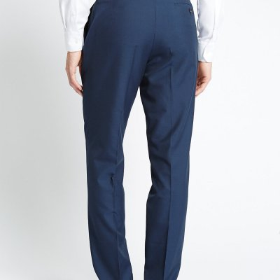 M&S Collection Tailored Fit Navy Suit Trousers