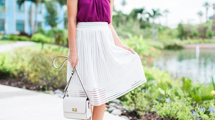White Midi Skirt with Fancy Frills Boutique