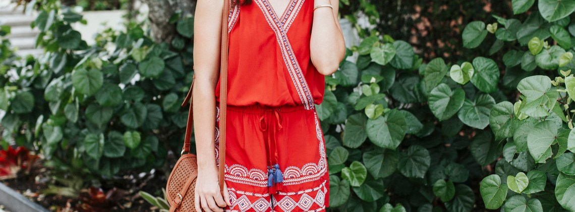 Red Embroidered Romper