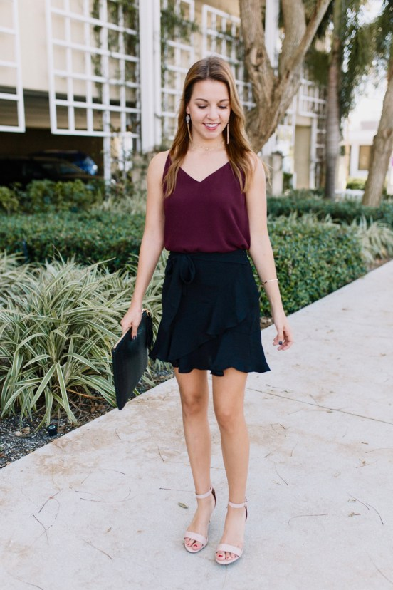 Night Out- Black Miniskirt & Maroon Tank by Florida fashion blogger Absolutely Annie