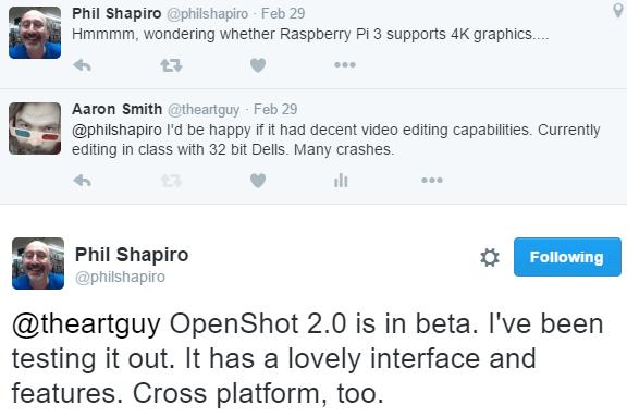 2016-05-23 09_07_40-Phil Shapiro on Twitter_ _@theartguy OpenShot 2.0 is in beta. I've been testing