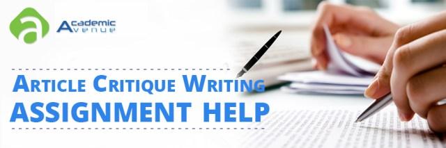 Article Critique Writing Assignment Help US UK Canada Australia New Zealand