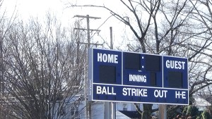 The scoreboard at Exeter's varsity baseball field. (Photo: Amanda Cain)