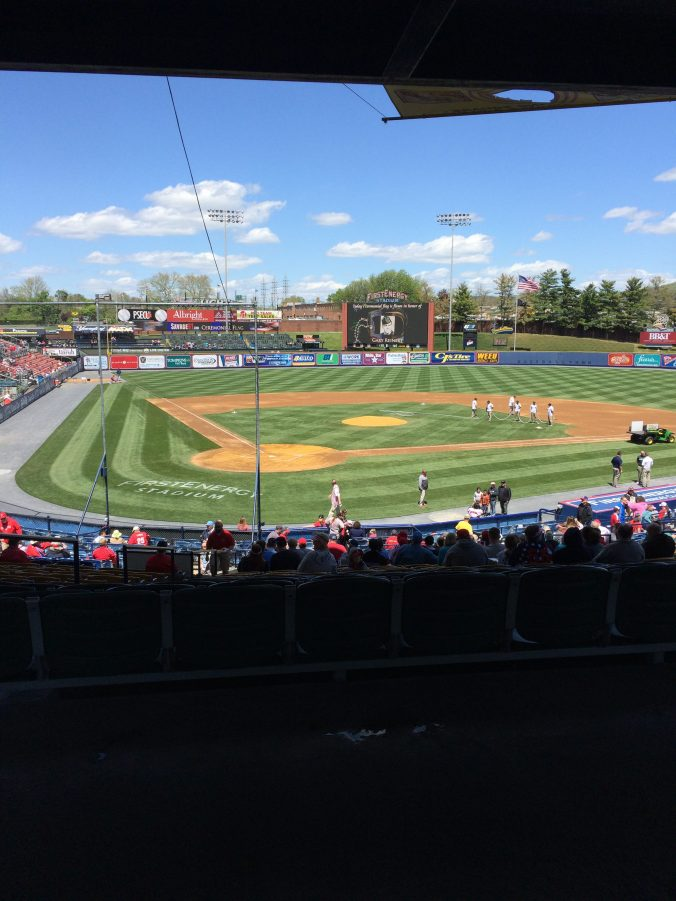 The groundscrew prepares the field at FirstEnergy Stadium. (Photo: Ariane Cain)