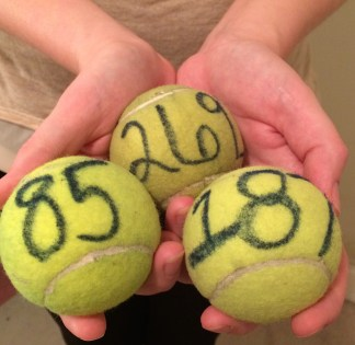 Tennis balls used by the Fightin's in their Toss-A-Ball event. Each number is recorded when fans purchase the balls, allowing the team to determine the winners for each prize. (photo by Ariane Cain)
