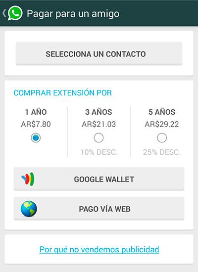 Actualización de Whatsapp pago