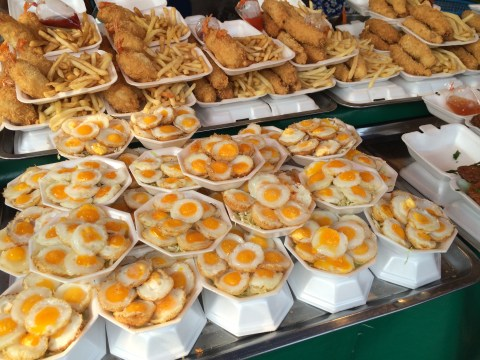 bangkok weekend chatuchak market food quail eggs