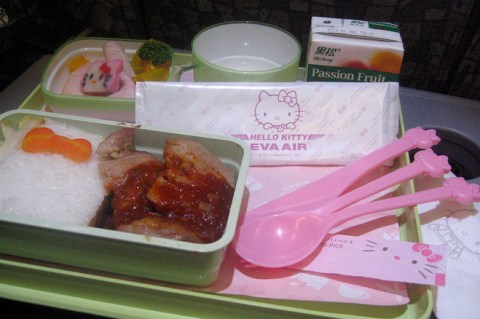 hello kitty jet plane eva airlines meal