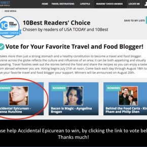 AE Nominated as 10 Best Food Blogs by USA Today  - PLEASE VOTE!!!! in the next 6 days