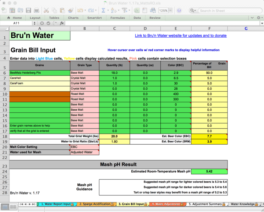 Bru'n Water Free Spreadsheet v 1.17a Water Report Input - simple Koelsch Recipe after water adjustment