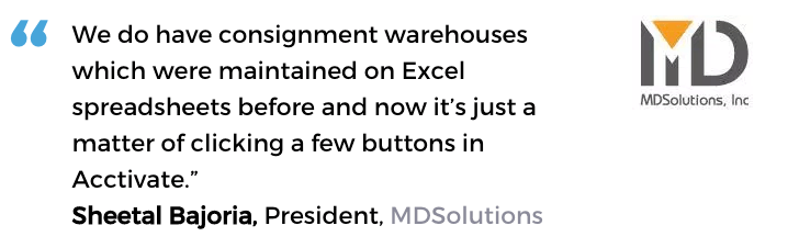 Acctivate inventory and warehouse software user, MD Solutions