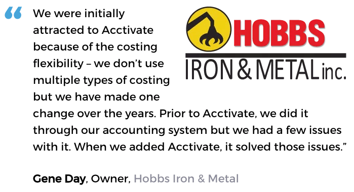 Acctivate inventory control software user, Hobbs Iron & Metal, Inc.