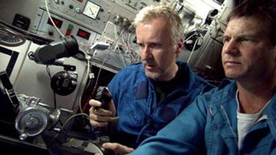 James Cameron and Bill Paxton aboard a mini sub