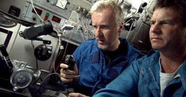 James Cameron and Bill Paxton aboard a mini sub