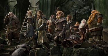 Thorin Oakenshield (Richard Armitage) and his eight dwarves ready for battle