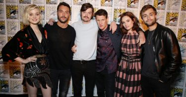 "Bella Heathcote, Jack Huston, Sam Riley, Matt Smith, Lily James and Douglas Booth seen at Screen Gems' ""Pride and Prejudice and Zombies"" Presentation at 2015 Comic-Con on Saturday, July 11, 2015, in San Diego. (Photo by Eric Charbonneau/Invision for Screen Gems]/AP Images)"