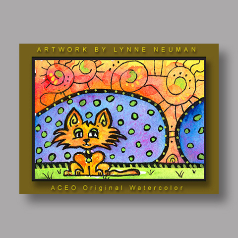 Signed ACEO *Orange Kitten Cat #130* by Lynne Neuman