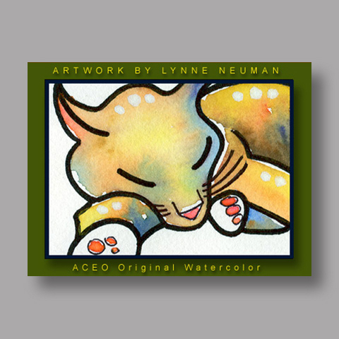 Signed ACEO *Sleeping Cat #169* by Lynne Neuman