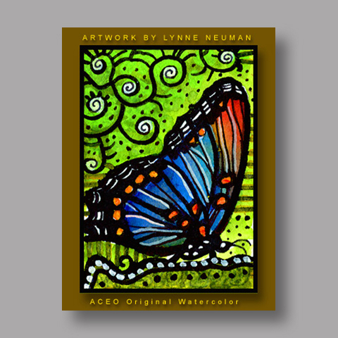 Signed ACEO *Red Spotted Purple Butterfly #0189* by Lynne Neuman
