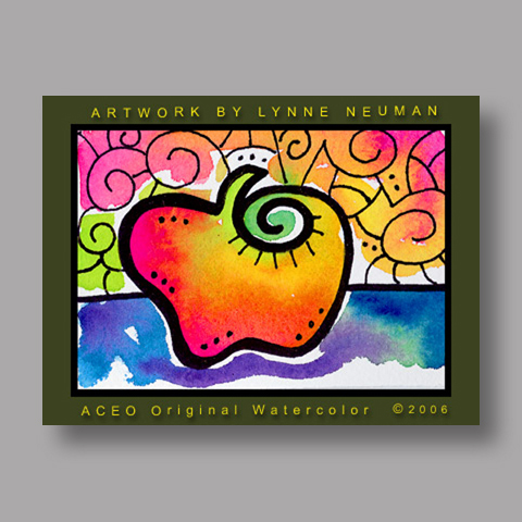 Signed ACEO *Whimsical Apple #314* by Lynne Neuman