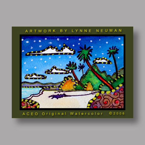 Signed ACEO *Tropical Beach #333* by Lynne Neuman