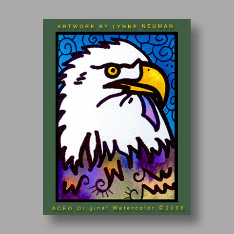 Signed ACEO *Bald Eagle #423* by Lynne Neuman