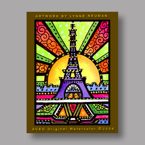 Signed ACEO *Eiffel Tower Paris #430* by Lynne Neuman