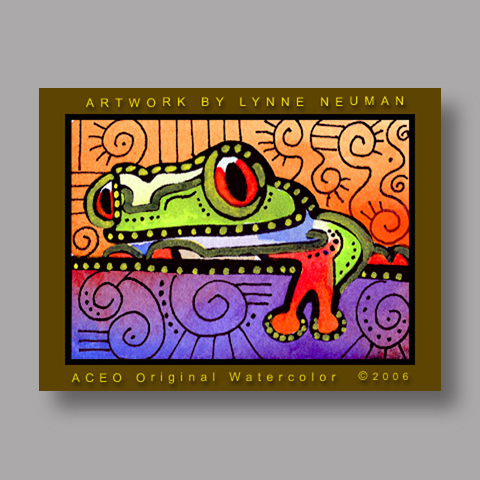 Signed ACEO *Tree Frog #472* by Lynne Neuman